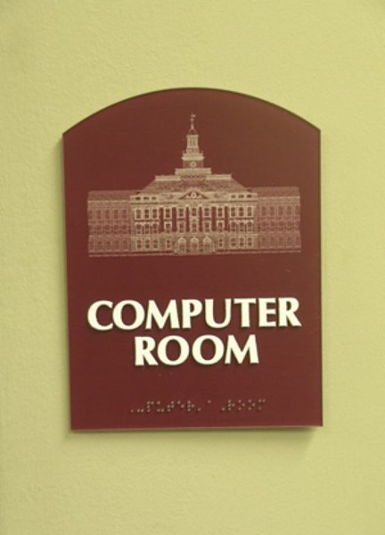 ADA and Wayfinding custom computer room sign
