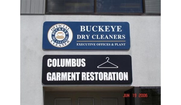 Logo and and signage for Buckeye Dry Cleaning strategically placed for high visibility